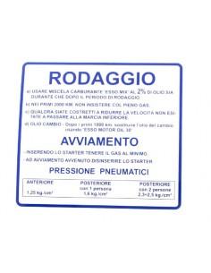 Targhetta blu Rodaggio x Vespa 50-90-125 Primavera