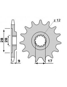 Pignone PBR in acciaio Z15 passo 428 disassato
